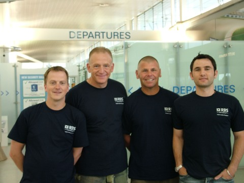 Left - right shows Mark Morrison, RBS International, Carl Clinton, Rob Cassin and Paul Nayar RBS International. Mark and Paul were the RBS International support team members.
