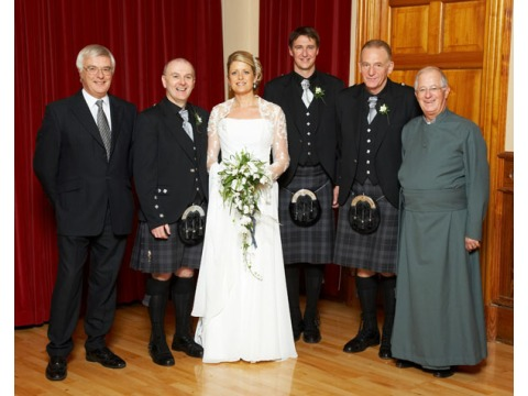 L – r     IIGA Treasurer Eric Legg, Groom IIGA Vice Chairman James Johnston, Bride Margaret Johnston, IIGA Chairman Jorgen Pettersson, IIGA Hon. Medical Adviser Carl Clinton and IIGA HLM the Ven Brian Partington MBE.